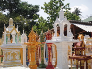 Buddhist spirit houses come in all colors