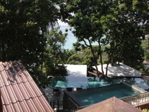 The view from my bungalow - 170 steps up the hillside from the road.  At least I'm close to the pool!