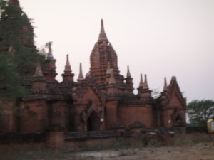A blurry picture of one of the may temples we passed in the horse cart