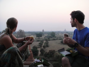 Eating our boxed breakfasts on top of the temple