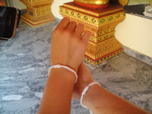 Our New Year good luck bracelets from our friendly local monk.