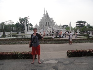 At the White Temple (totally soaked from our tuk tuk ride during Songkran)