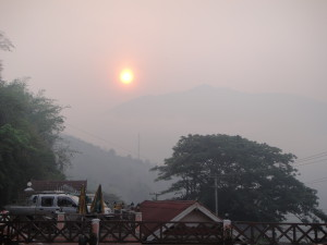 Hazy Sunrise.  The morning at Pak Beng (where we stayed for the night).