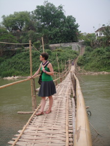Crossing the bamboo bridge - yes, it's rickety...it is temporary (rebuilt every year), after all.