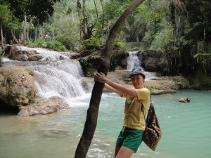 Ready for a swim! At Kuang Si Waterfall.