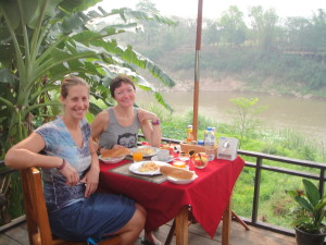 Breakfast on the Nam Khan river (the little river) at our hotel