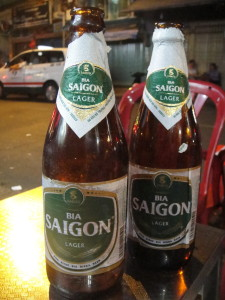 Drinking Beer Saigon on the street in Saigon.  Perfection!