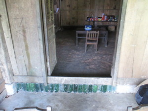 Our homestay.  Love the use of bottles for structural support.